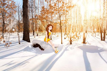 冬季森林仙子图片