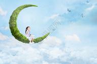 儿童梦幻阅读场景图片