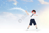 听音乐跳舞的男孩图片