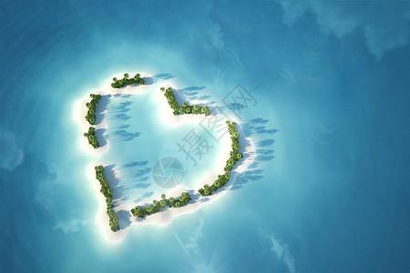俯拍心形小岛图片