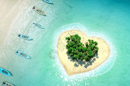 航拍心形唯美小岛图片