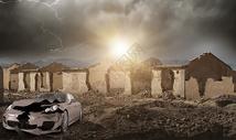 战争废墟图片