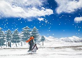 冬季企鹅雪山漫步赏雪景创意插画图片