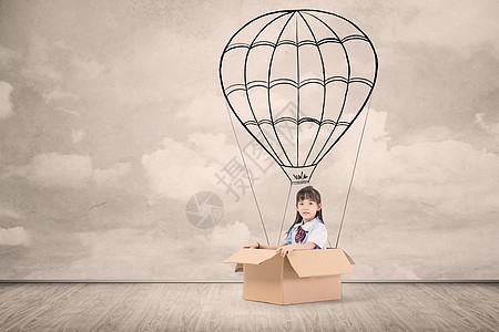 热气球上的女孩图片