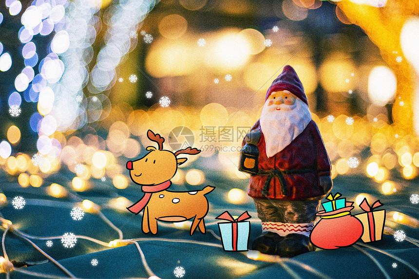 圣诞老人与麋鹿图片