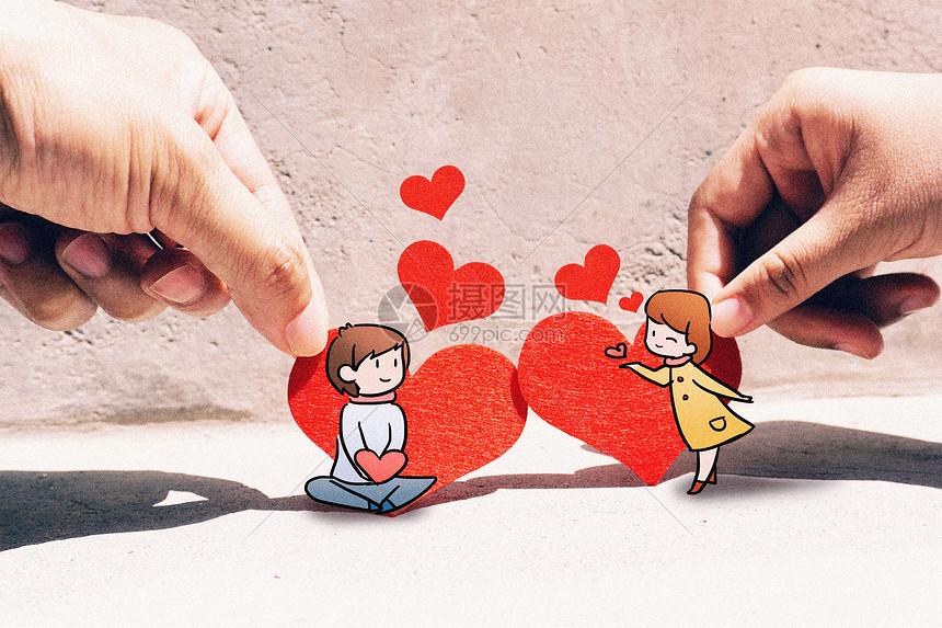 小情侣创意摄影插画图片