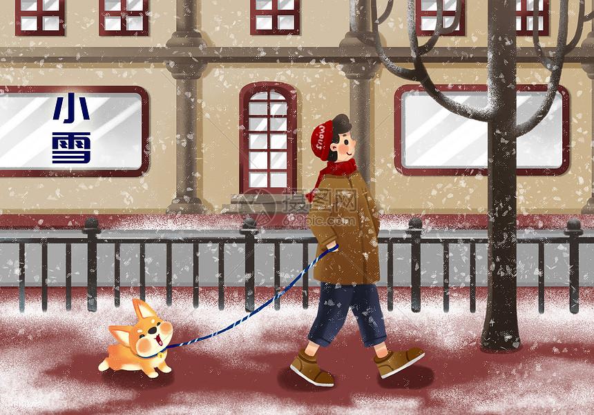 二十四节气小雪插画图片