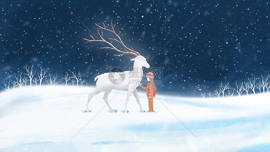 雪地麋鹿与小女孩图片