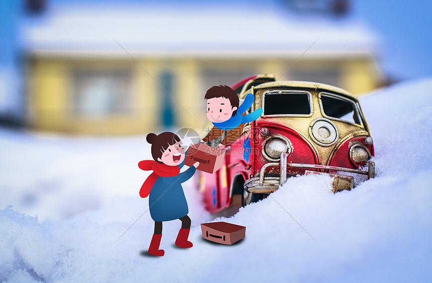 雪中的小车图片