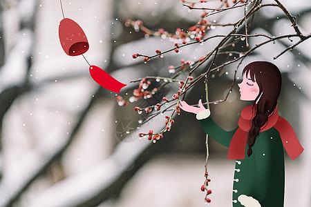 赏雪的少女图片