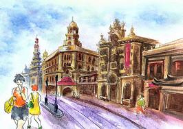 上海建筑街景水彩插画手绘图片