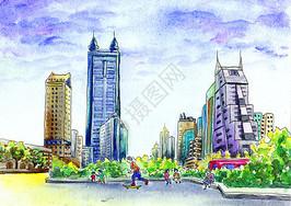 深圳城市建筑街景水彩插画手绘图片