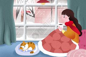 大雪节气插画图片