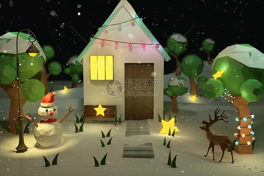 圣诞雪夜图片