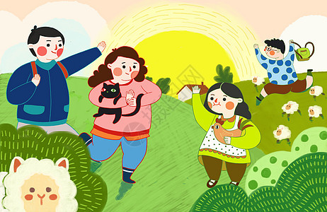 新春一家人去草原春游踏青图片