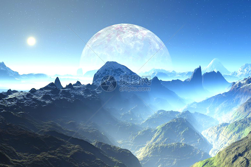 月落的美景图片