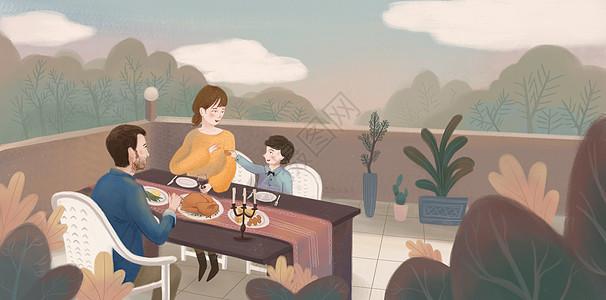 感恩节家庭聚餐图片