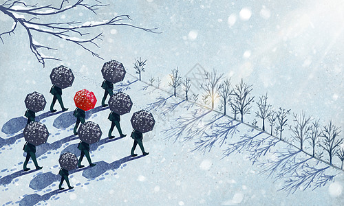 雪地上撑红伞的人图片
