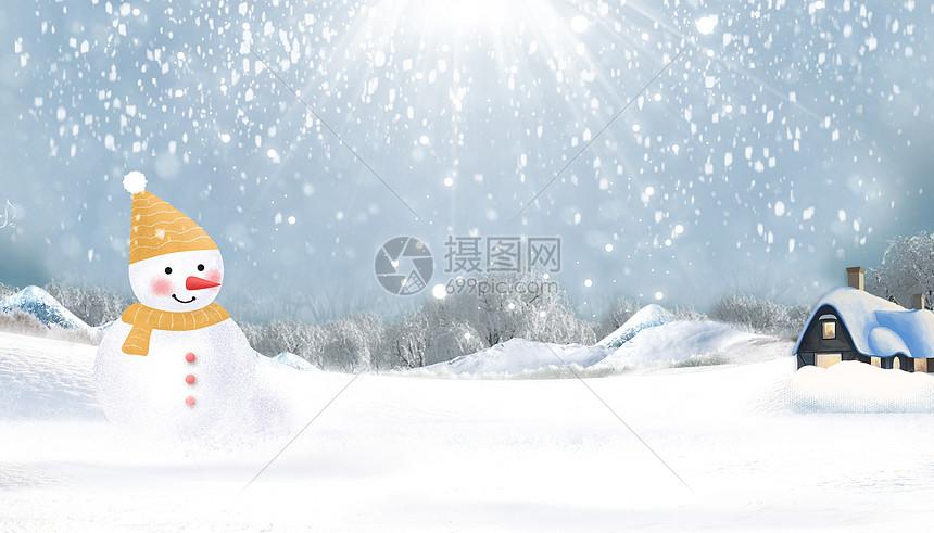 冬季堆雪人图片