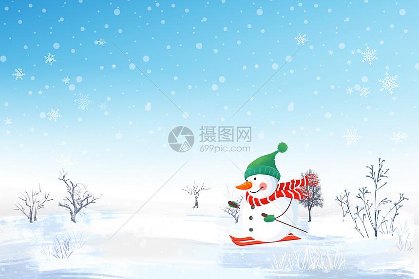 冬季雪人背景图片
