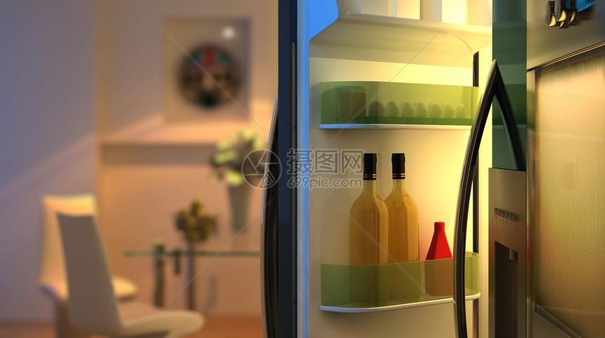 温馨厨房场景图片