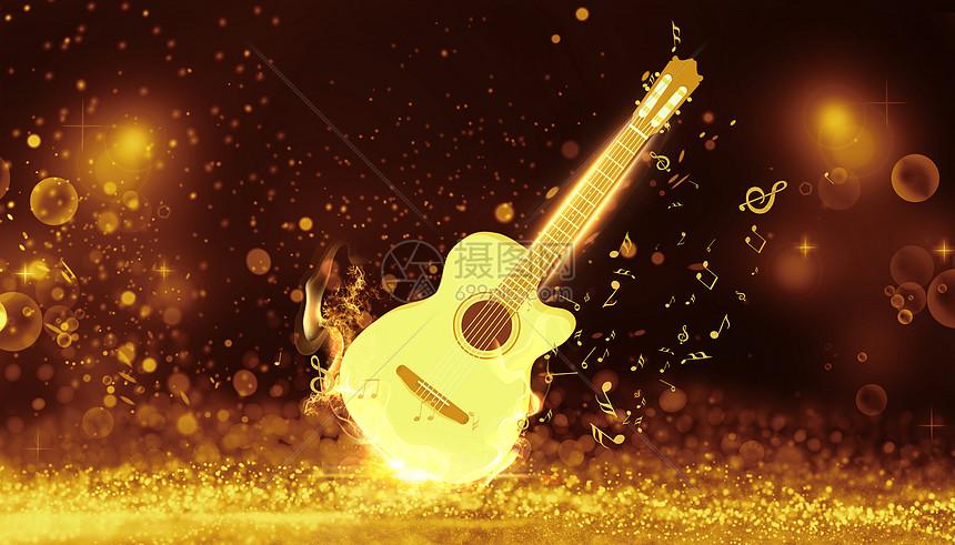 发光的吉他图片