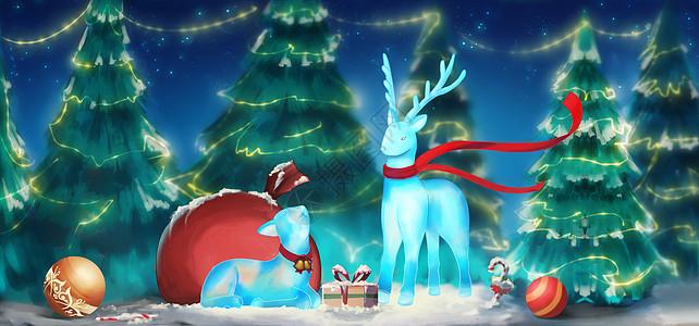 圣诞节麋鹿礼物图片