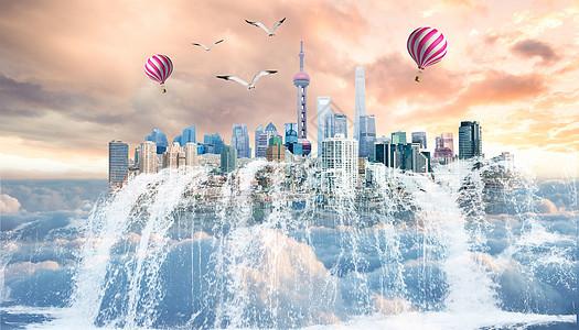 云端的城市图片