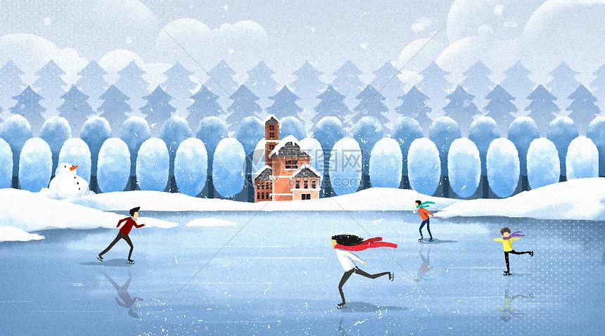 冬天滑冰图片