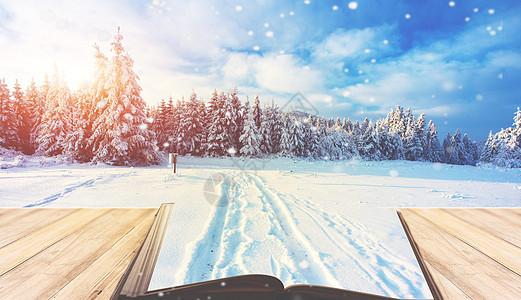 创意冬季雪景图片