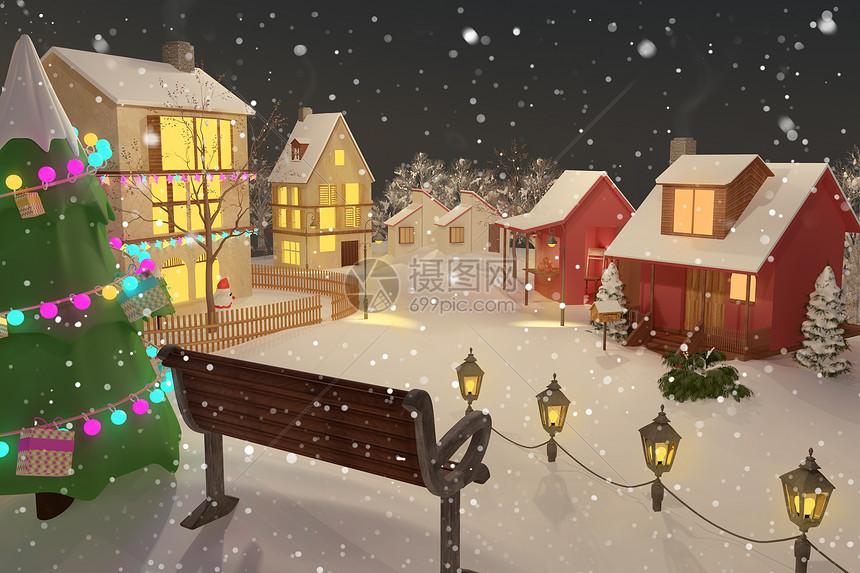 乡村圣诞雪景图片