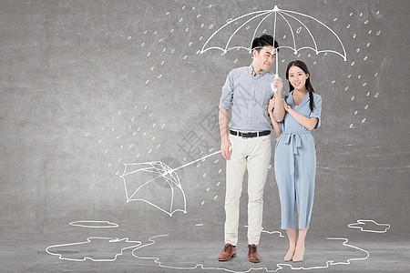 打伞的情侣图片