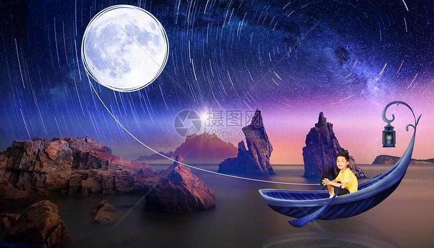 摘月亮的小男孩图片