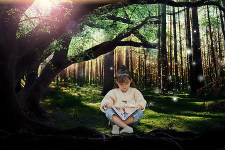 森林夜读的女孩图片