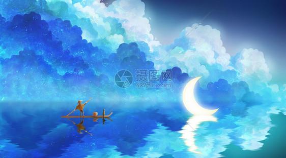 蓝色唯美月亮与渔夫图片