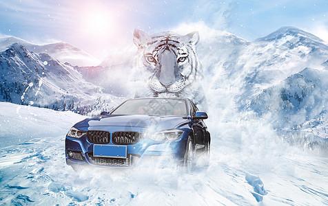 雪地飞奔的汽车图片