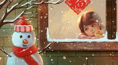 下雪天趴在窗台看雪人的女孩图片