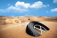 沙漠中的轮胎图片