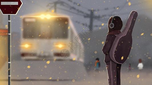 雪中的音乐少女图片