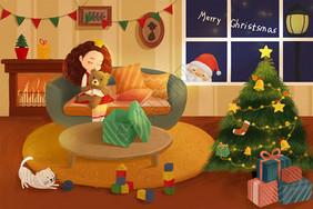 卡通圣诞主题插画图片
