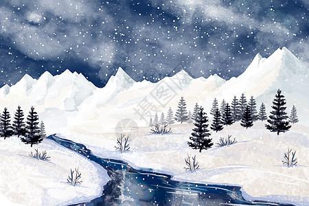 唯美夜色小溪落雪雪景图片