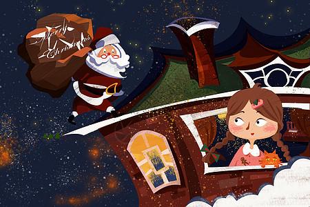 夜空中圣诞老人图片