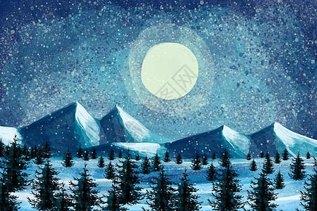 唯美梵高风雪景夜景图片