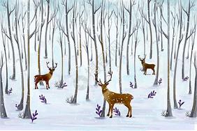 雪中麋鹿美景图片