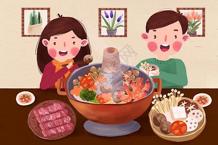 冬天吃火锅图片