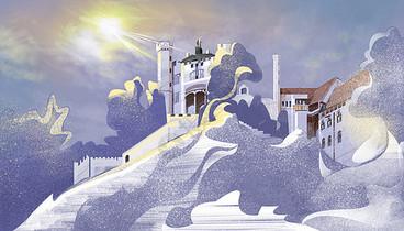 唯美冬天雪景里的城堡图片
