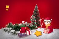 拆圣诞礼物的小孩图片
