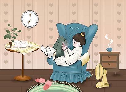 冬季居家插画图片