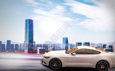 城市飞奔的汽车图片