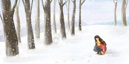 唯美冬季玩雪的女孩图片